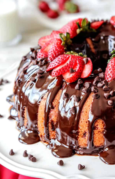 Strawberry Pound Cake with Chocolate Ganache