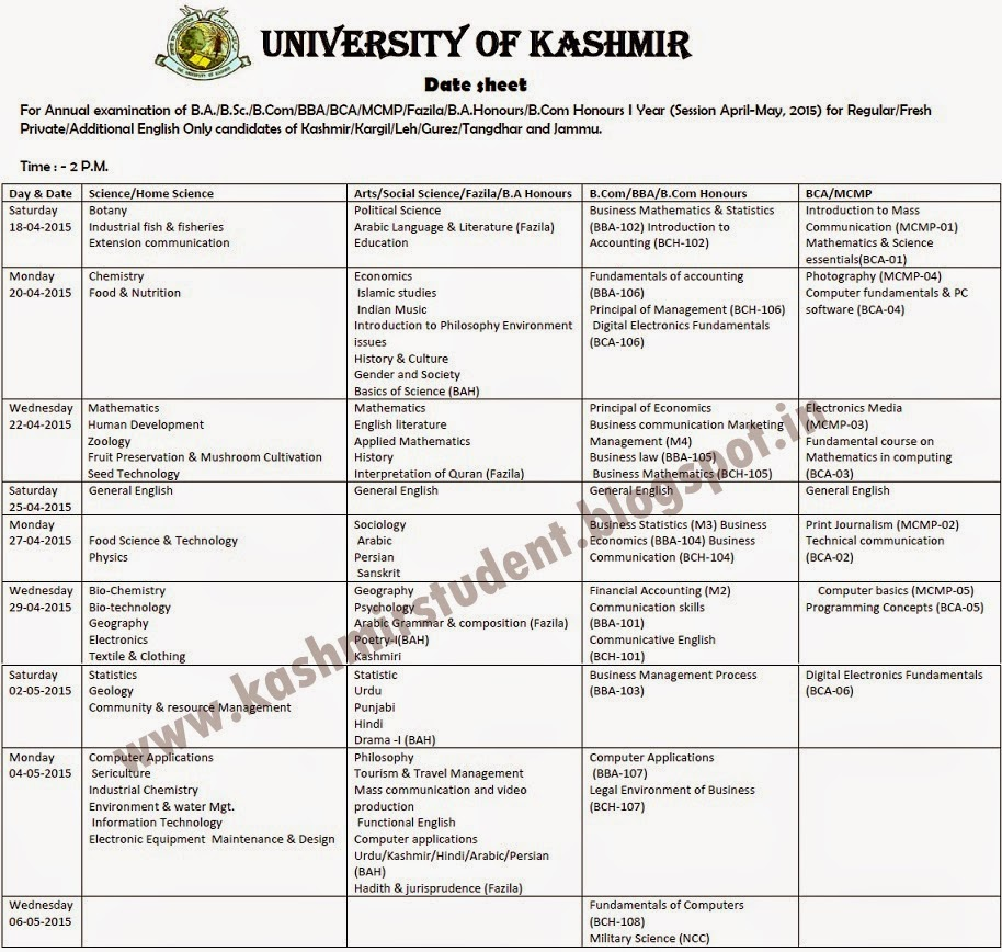 Date Sheet for Annual Examination of B.A./B.Sc./B.Com/BBA/BCA/MCMP/Fazila/B.A.Honours/B.Com Honours I Year (Session April-May, 2015) for Regular/Fresh Private/Additional English Only candidates of Kashmir/Kargil/Leh/Gurez/Tangdhar and Jammu.