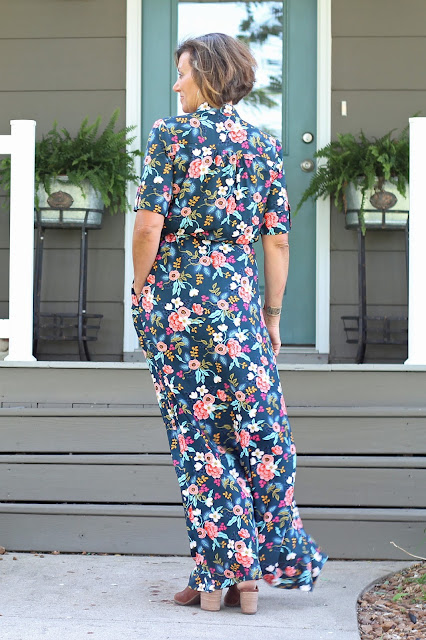 Style Maker Fabrics' Les Fleurs Birch Floral Rayon Navy sewn into a Simplicity 8084  maxi dress, designed by Mimi G- back view