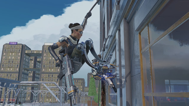 Screenshot from XCOM: Chimera Squad of Agent Patchwork breaching a building window