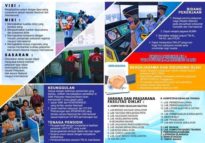 Sekolah SMK Pelayaran yang mempunyai Sertifikat Pelaut di Batam.