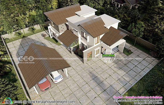 Drone view of modern mixed roof home