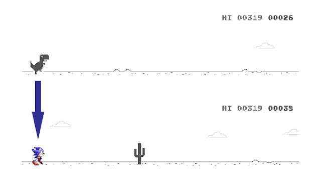 Cara Tukar Karekter Google Dinosaur Game Daripada Dino Kepada Sonic