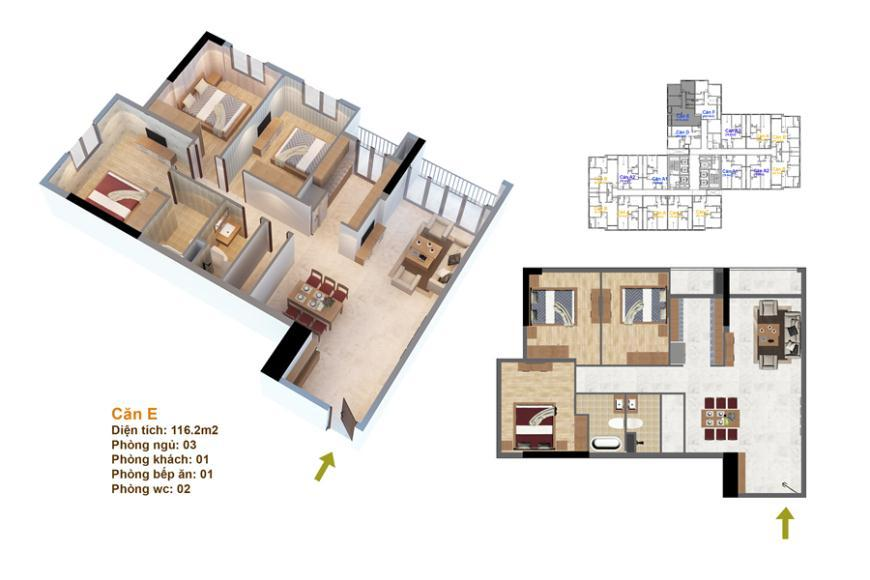 Mặt bằng căn hộ số 02 ruby 3- Goldmark City 136 Hồ Tùng Mậu