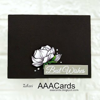 Clean and simple card, floral card with Digital stamp b y Craftyscrappers, Copic coloring white flowers, AAA Cards, CAS card, Craftyscrappers, Digital stamp, colored cardstock, Quillish, Copic markers,