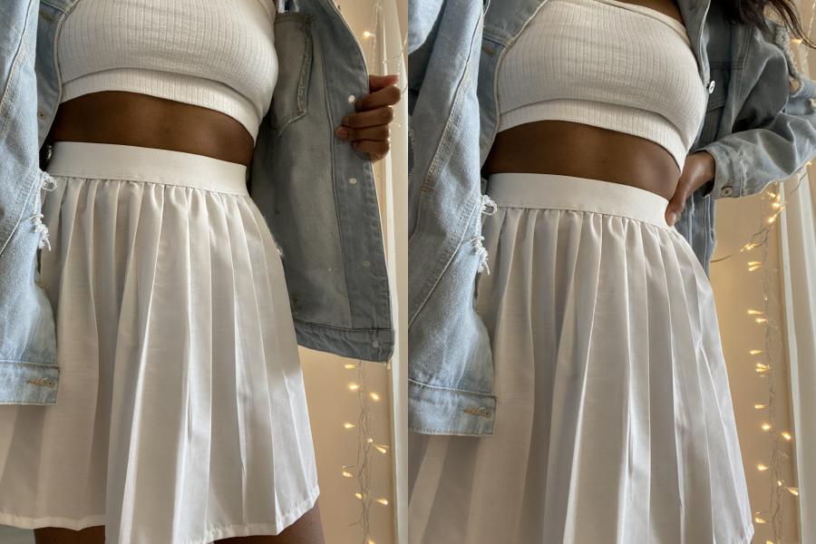 White tennis skirt with elastic waistband