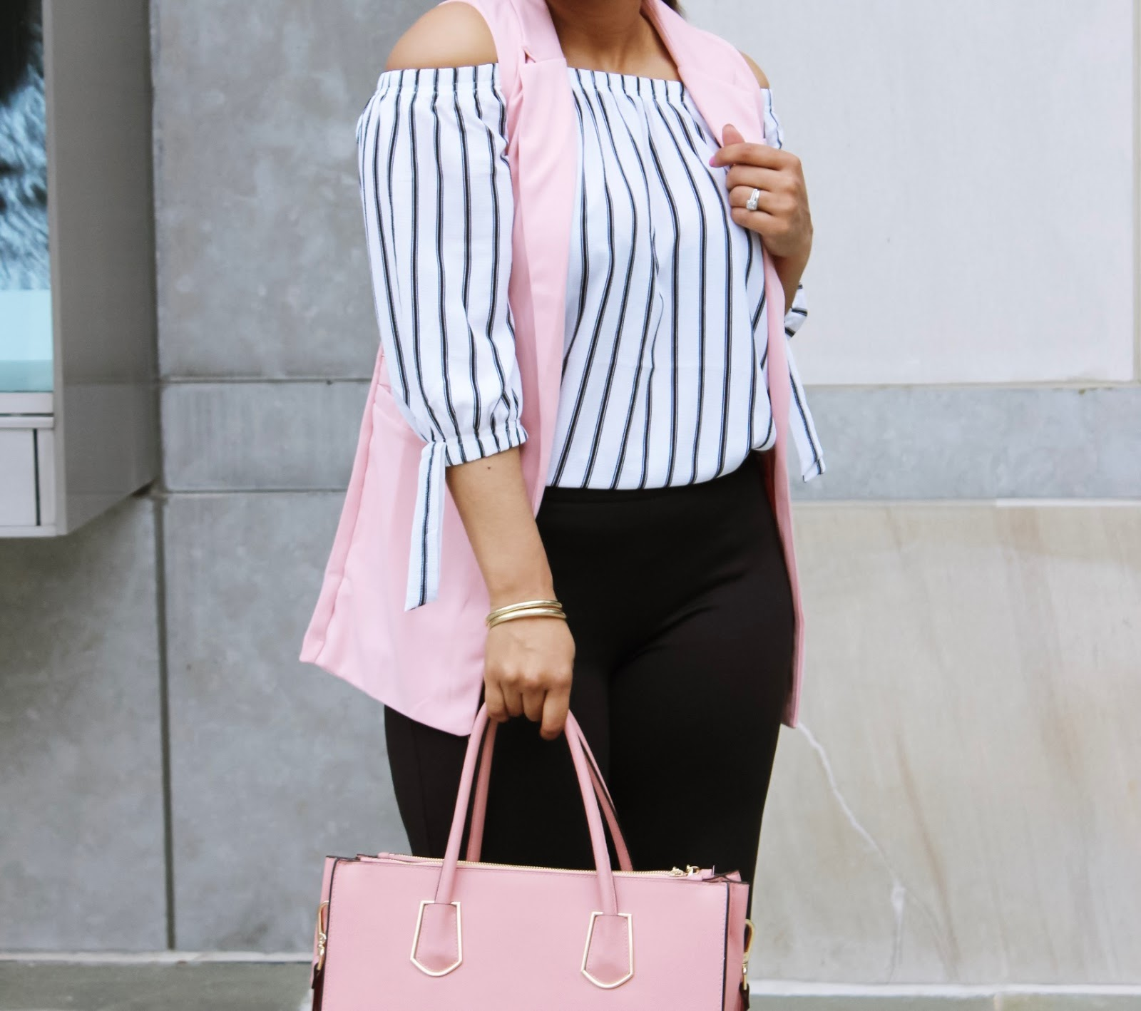 Off the shoulder, pink vest, off the shoulder trend, striped off the shoulder top, culettos pants, structured bag