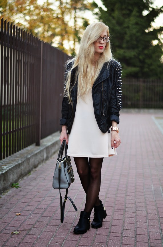 BIKER STUDDED JACKET & BEIGE DRESS