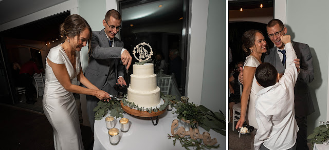 Bride and Groom cutting cake at the Reception together The Manor on St Lucie Crescent Wedding captured by Stuart Wedding Photographer Heather Houghton Photography