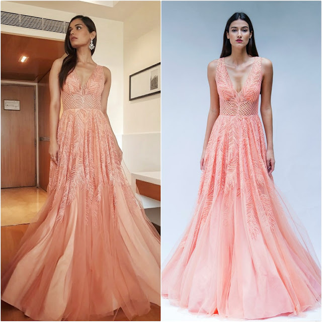 Manushi recently attended an Economic Times Event wearing a peach gown by designer Zara Umrigar