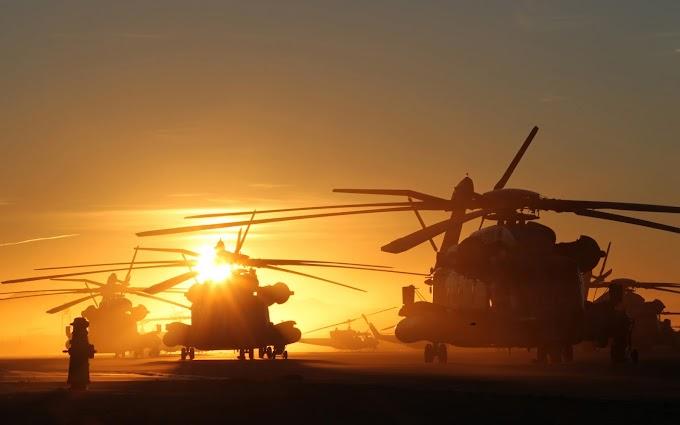 Papel de Parede Helicópteros e Pôr do Sol