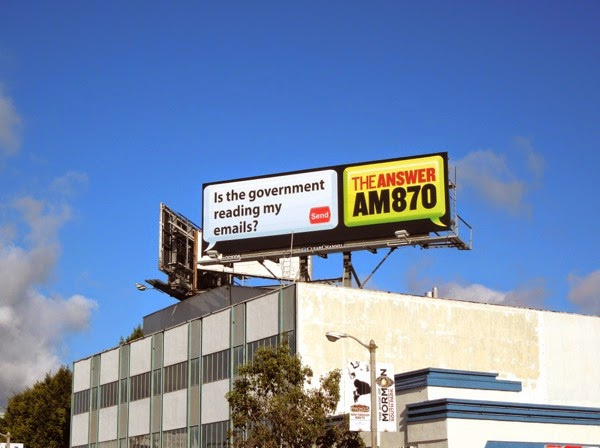 government reading emails AM 870 Answer radio billboard