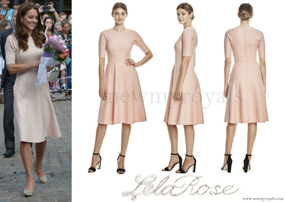 Kate Middleton wore Lela Rose Double Faced Twill Elbow Sleeve Dress
