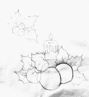 risco vela de natal com bolas, laço e azevinhos para pintar