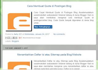Cara Cepat Mengatur Posisi Judul Postingan/Artikel Suatu Pada Blog