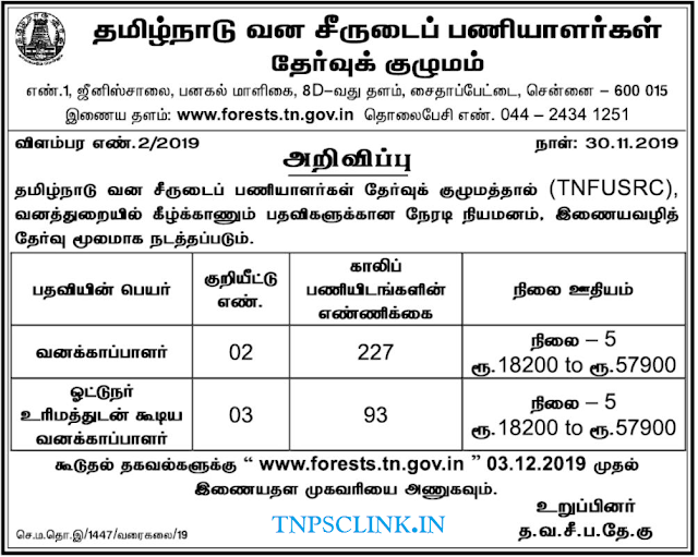 Tamil Nadu Forest Guards Recruitment 2019