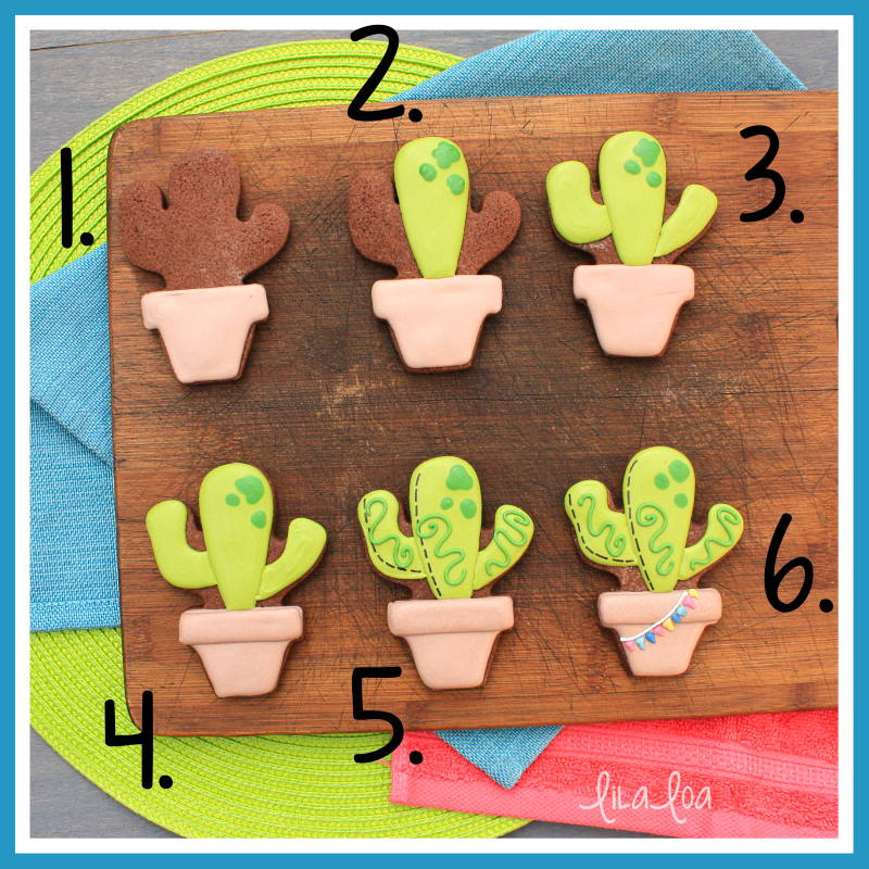 Step by step potted cactus sugar cookie decorating tutorial with video