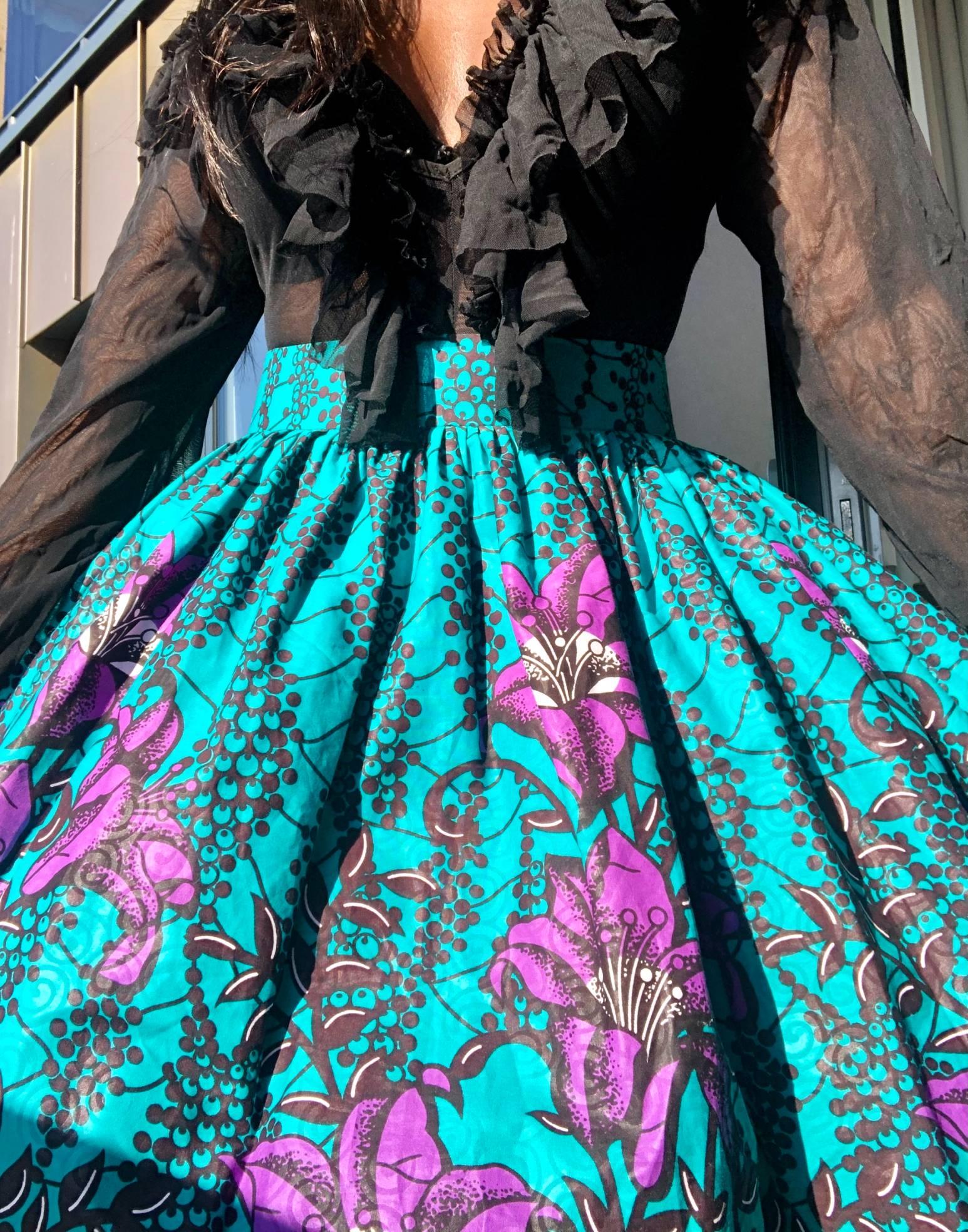 African Print Skater Skirt UK