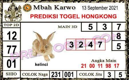 Prediksi Mbah Karwo Hk Senin 13 September 2021