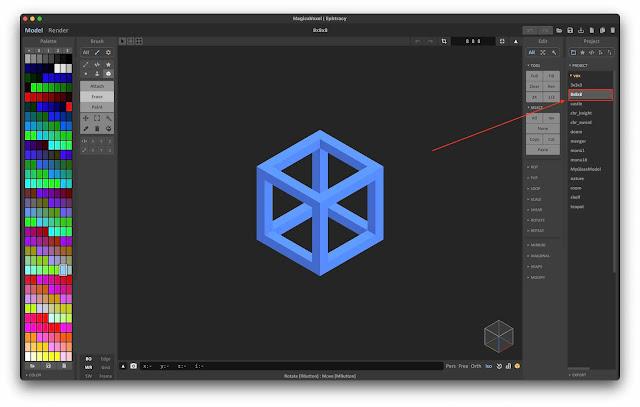 8x8x8 Sample Voxel Model File in MagicaVoxel