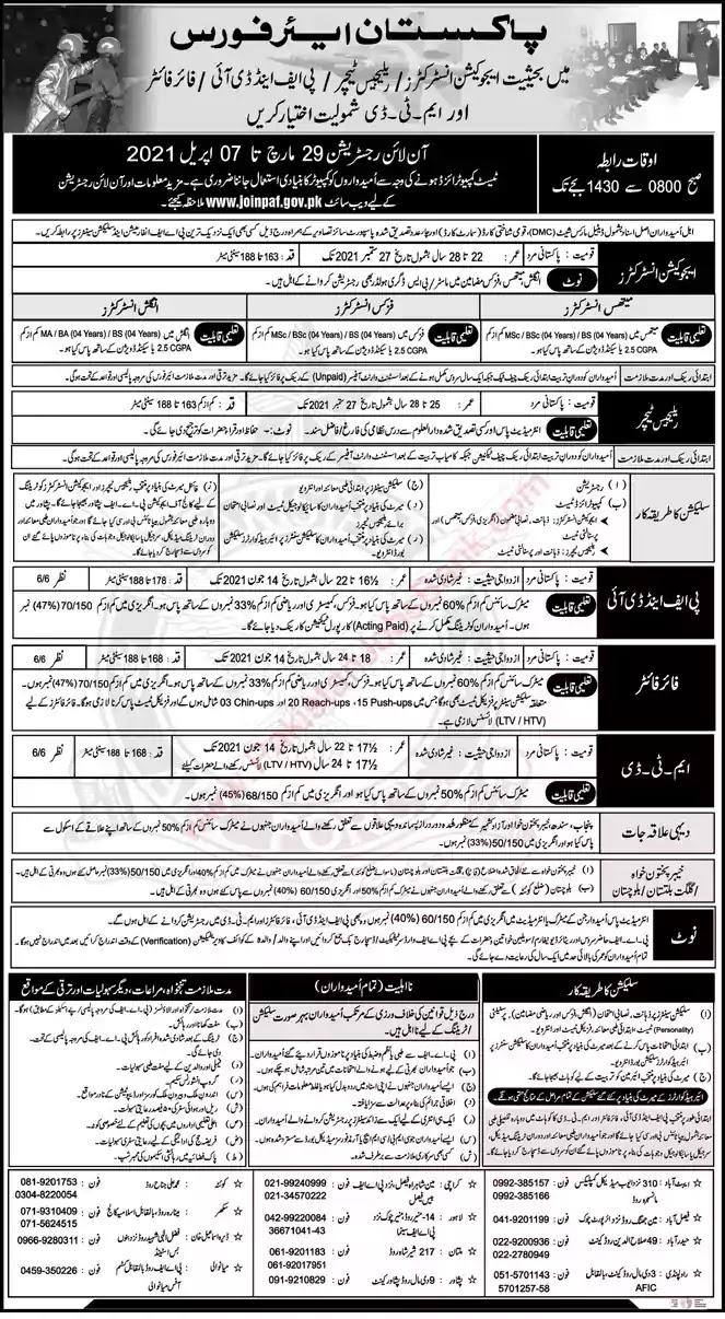 New Jobs in Pakistan Pakistan Air Force Jobs 2021 | Apply Online