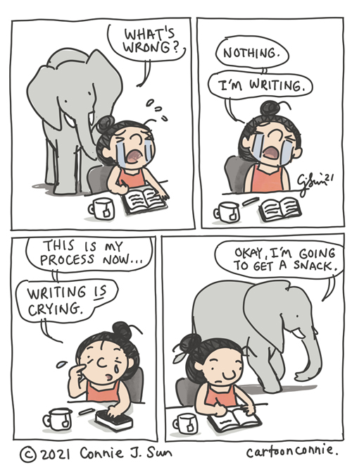 Comic strip about writing and the creative process which often involves tears, by Connie Sun, cartoonconnie sketchbook drawing
