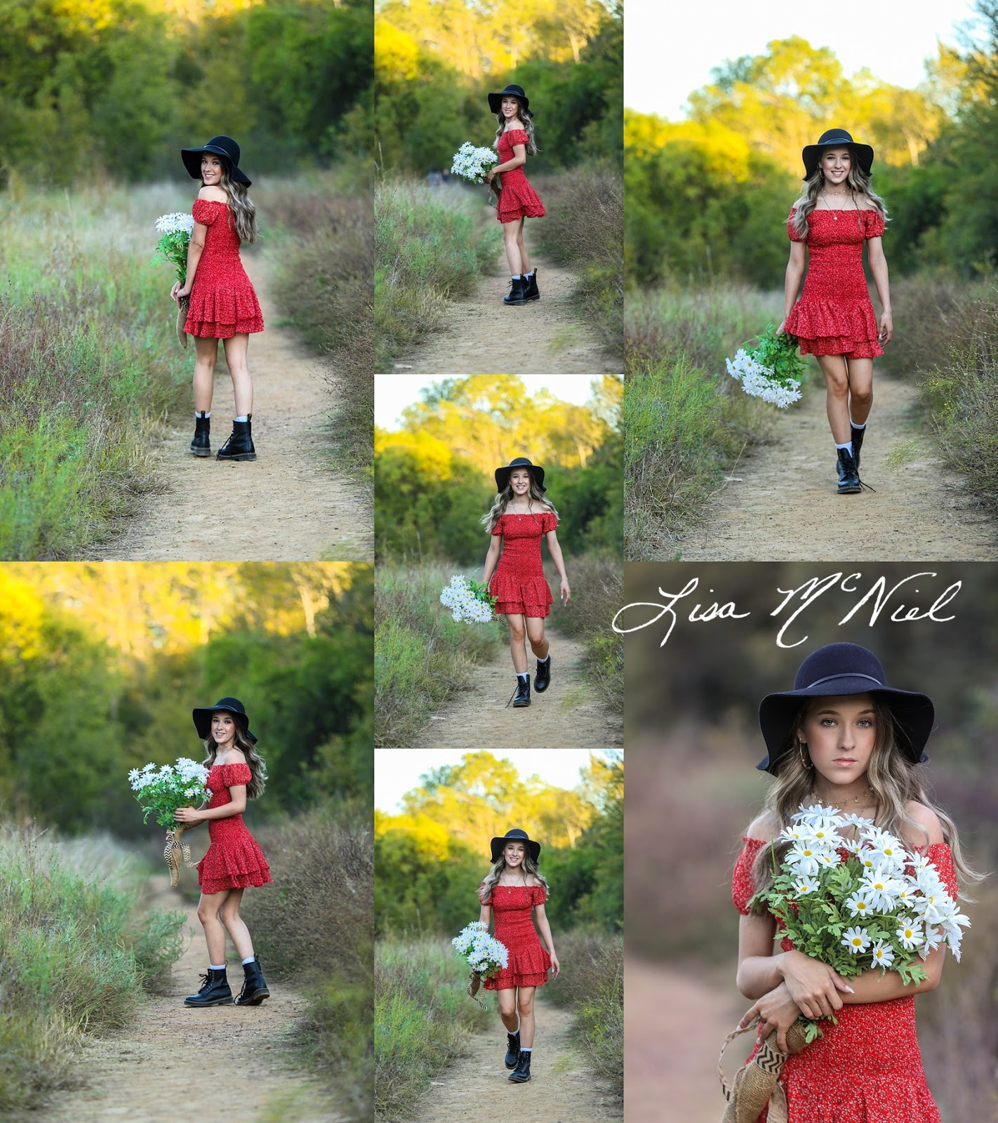 collage of photo ideas in field