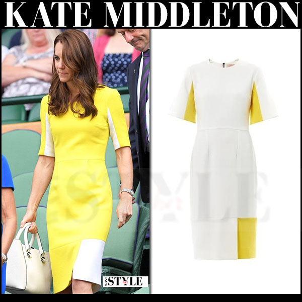 Kate Middleton in yellow short sleeve dress roksanda ilincic ryedale what she wore