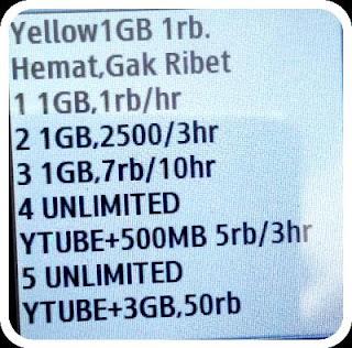 Cara daftar paket internet yellow 1GB seribuan