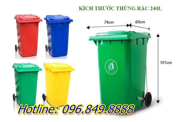 Thùng rác 240 lít có rất nhiều màu để lựa chọn