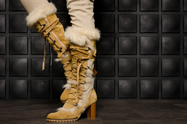 tan Coach faux fur boots