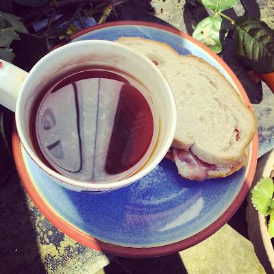 Tea, no milk Bacon butty, no sauce