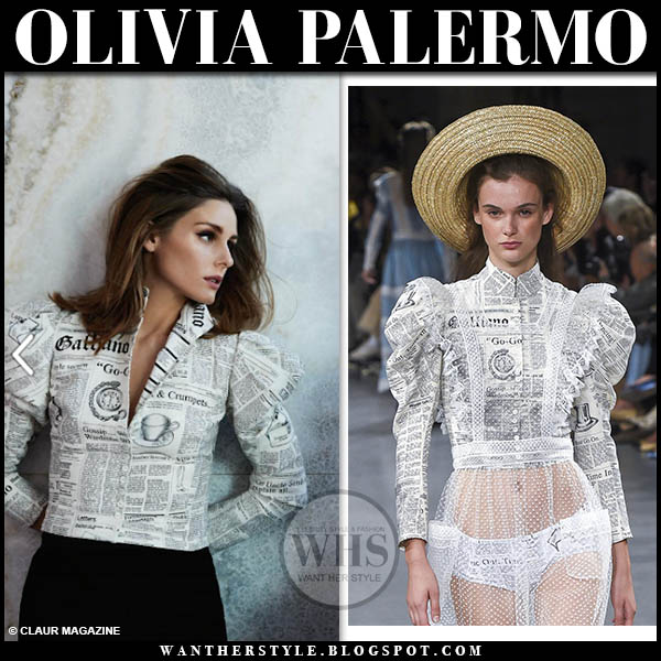 Olivia Palermo in newspaper print jacket john galliano claur editorial 2019
