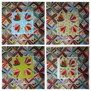 Three green prints and one blue are tested as background for string tulip blocks