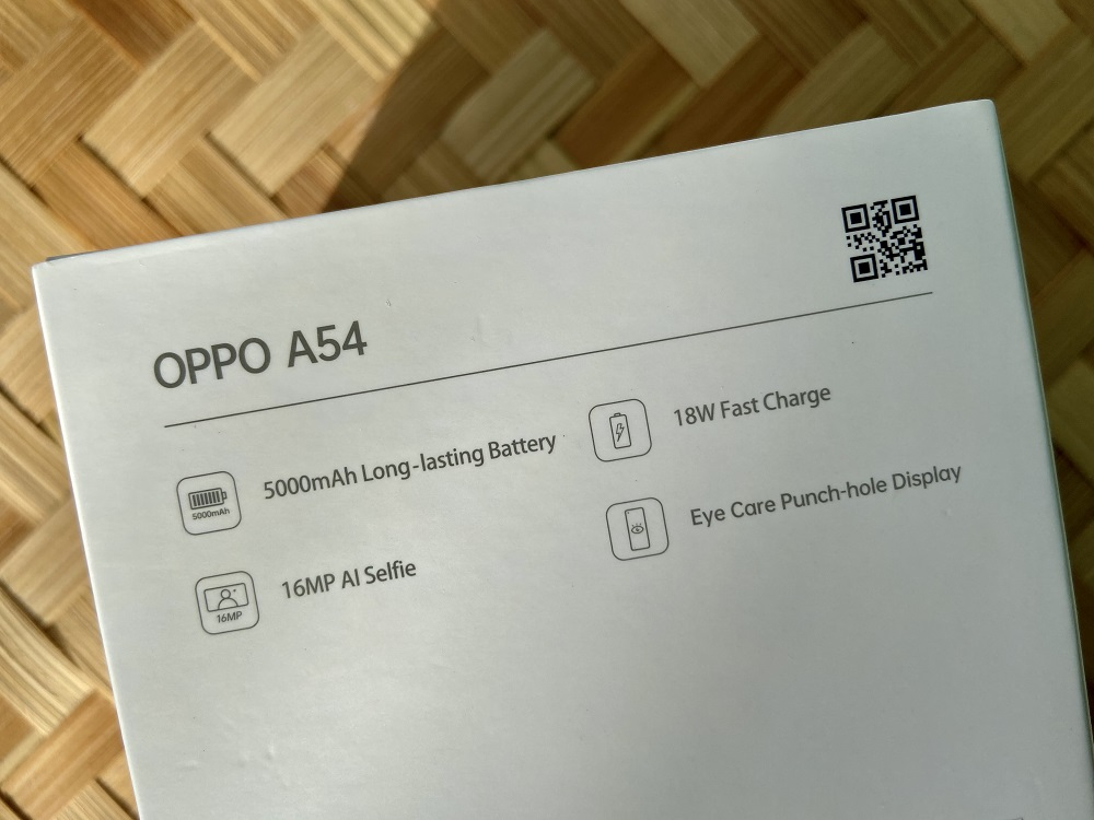 OPPO A54 Retail Box - Back