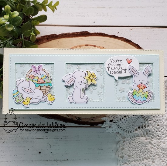 Some-bunny Special Card by Amanda Wilcox | Hop Into Spring Stamp Set and Petite Flowers Stencil by Newton's Nook Designs #newtonsnook #handmade