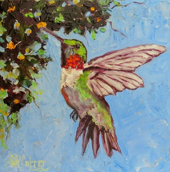 Miss Scarlet Hummingbird in oils in Impasto