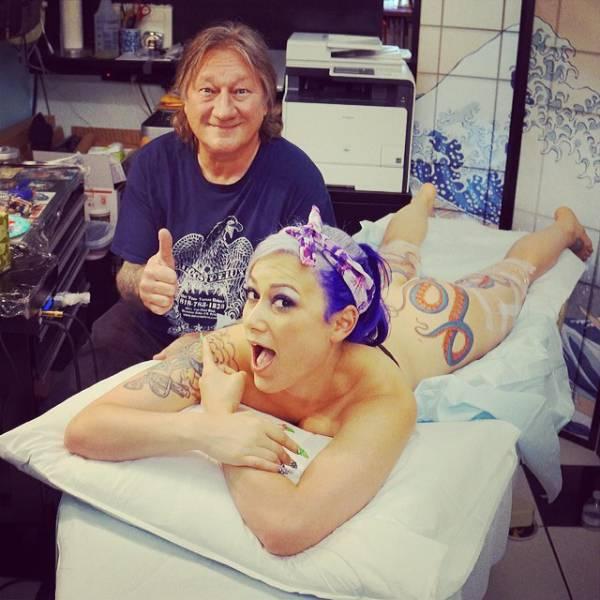 girl octopus tattoo naked gif