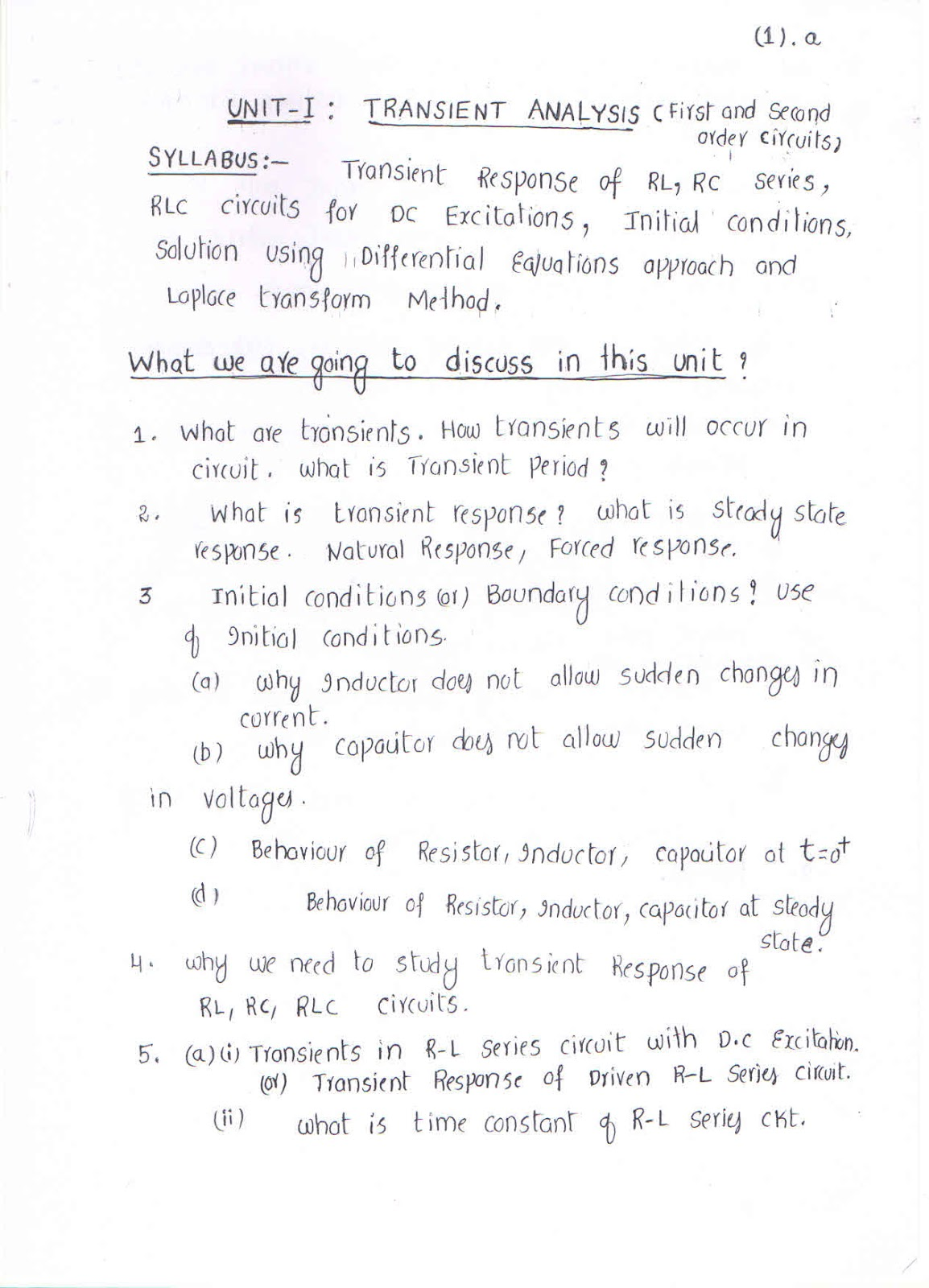 Praveenksphoorthy Transient Analysis Notes First Two Pages Rc Circuit
