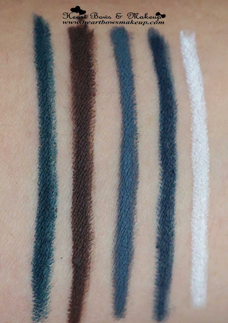 New Lakme Eyeconic Kajal Colors Green Brown Grey Blue White Review Swatches Price