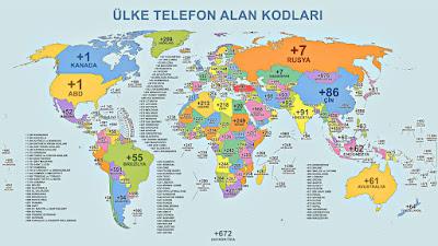 Dünya haritası üzerinde ülke telefon alan kodlarının gösterimi