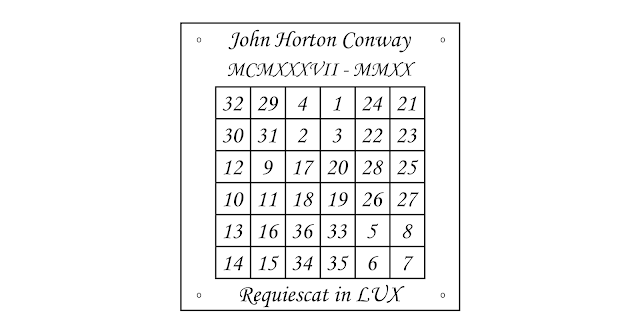 """Miguel Amela's idea of an """"in memoriam"""" plaque in homage of John Horton Conway and his LUX method for constructing magic squares"""