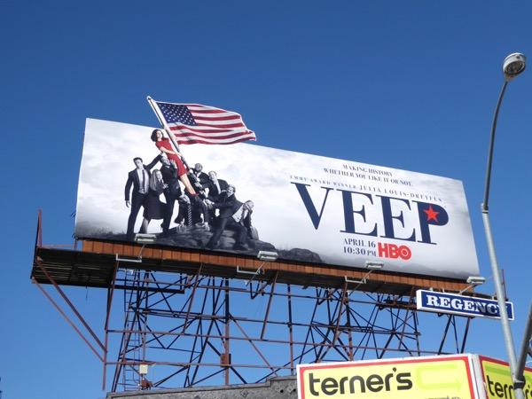 Veep season 6 US Marine Corps War Memorial homage billboard