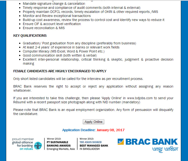 brac bank exit procedure Brac bank job circular apply now all bangladeshi people can apply this brac bank new jobs in july 2017 brac bank job sincerely follow functional procedure of.