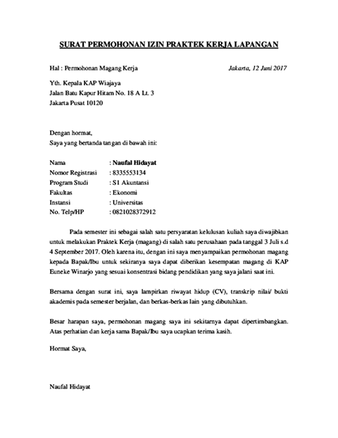 Contoh Surat Permohonan (via: cermati.com)