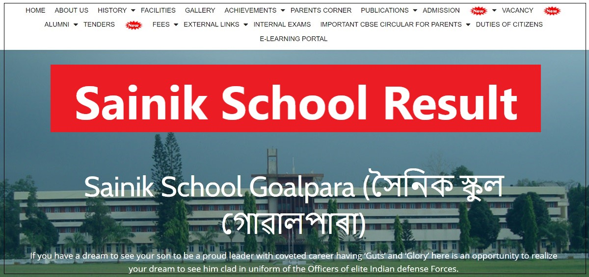 Sainik School Goalpara Entrance Exam Final Result 2021
