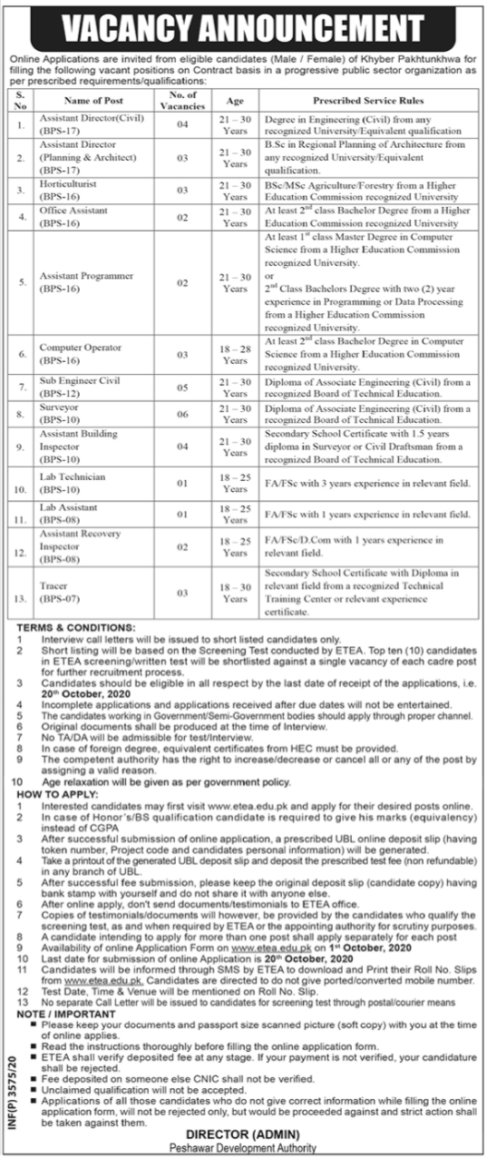 Peshawar Development Authority   jobtoday.pk
