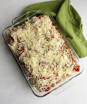 assembled creamy ground beef and noodle casserole ready to bake