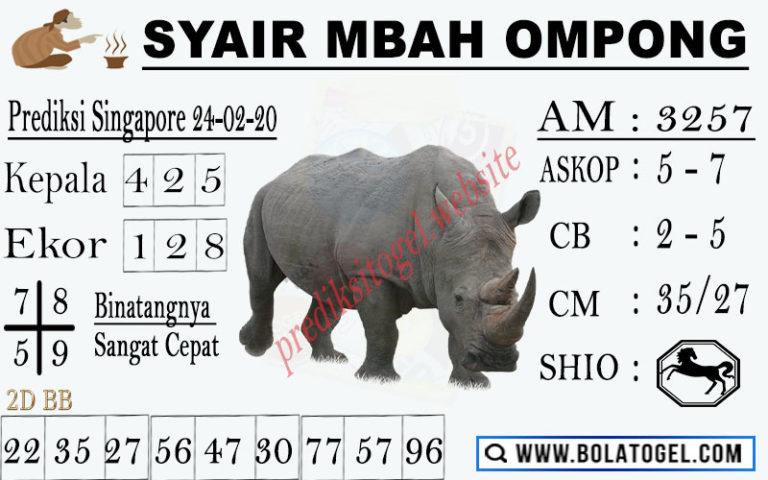 Prediksi Togel JP Singapura 24 Februari 2020 - Syair Mbah Ompong