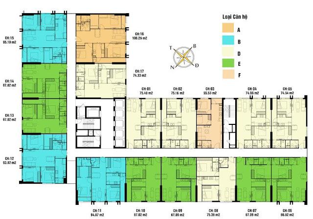 Mặt bằng toà CT3 chung cư eco green city